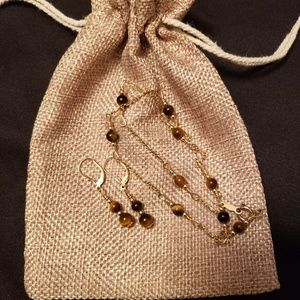 Tiger's Eye Necklace & Earrings